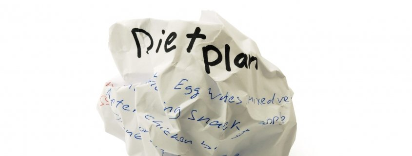Crumpled paper ball with the words diet plan on white background