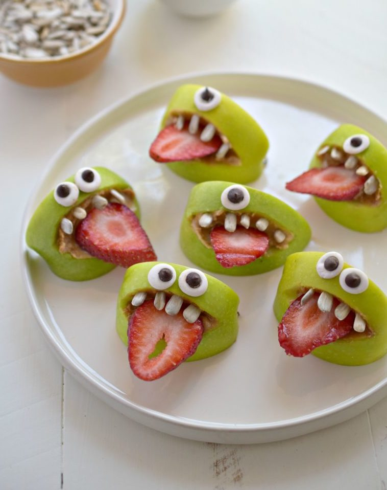 8 Healthy Halloween Treats - Silly apple bites